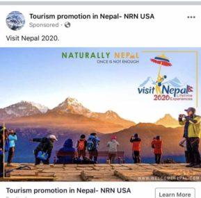 भिजिट नेपाल सफल बनाउन एनआरएनले फेसबुकबाट विज्ञापन दिन शुरु