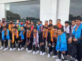 साफको उपविजेता नेपाली फुटबल टोलीको भब्य स्वागत